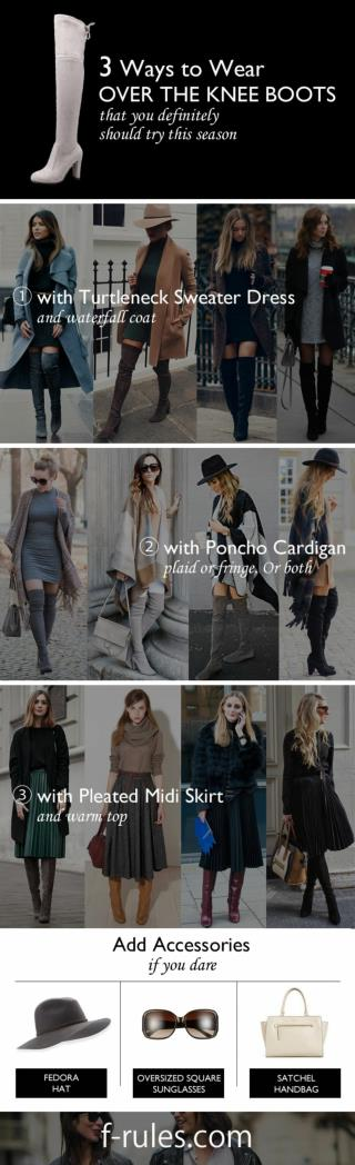 What to Wear Over-The-Knee Boots in 2017? Fresh Infographics http://f-rules.com/how-to-wear-over-the-knee-boots/ Over-th