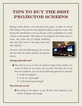 Tips To Buy the Best Projector Screens