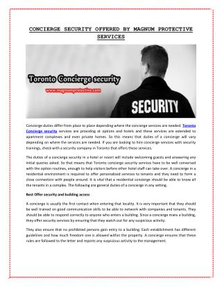 Toronto Concierge security