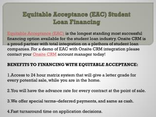 Equitable Acceptance (EAC) Student Loan Financing