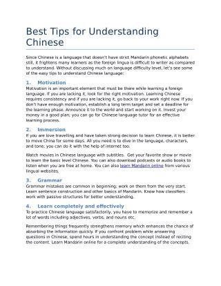 Best Tips for Understanding Chinese