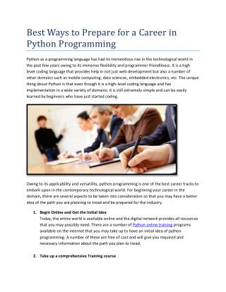 Best Ways to Prepare for a Career in Python Programming