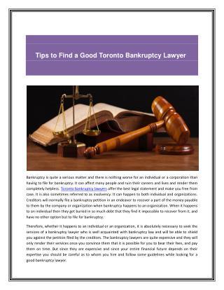 Toronto bankruptcy lawyers
