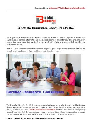 What Do Insurance Consultants Do?