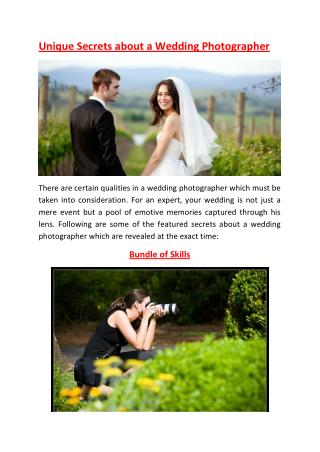 Unique Secrets About a Wedding Photographer
