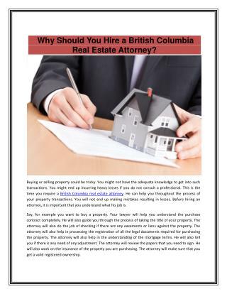 British Columbia Real Estate Attorney