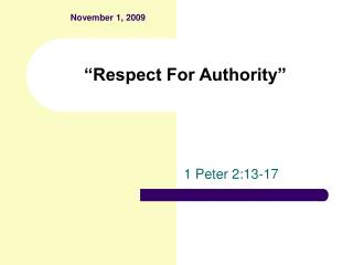 Respect For Authority
