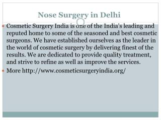 Nose Surgery in Delhi|Cosmetic Surgery India