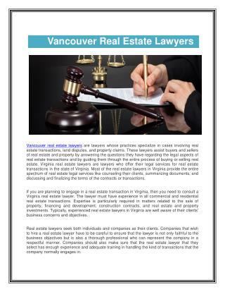 Vancouver Real Estate Lawyers