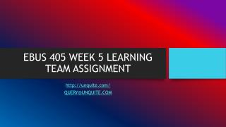 EBUS 405 WEEK 5 LEARNING TEAM ASSIGNMENT