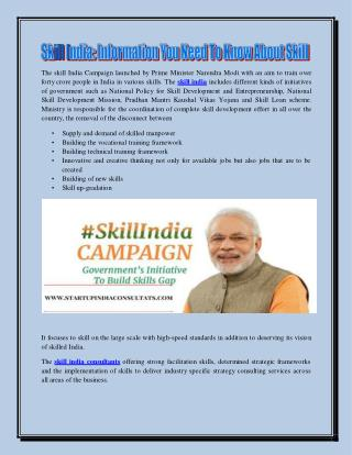 Skill India Information You Need To Know About Skill India Consultants And Programs