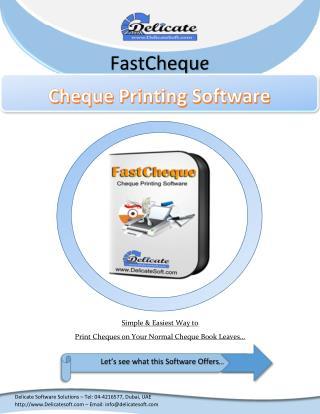 Cheque Printing Software in Dubai