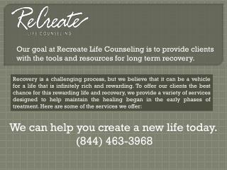 Welcome to Recreate Life Counseling