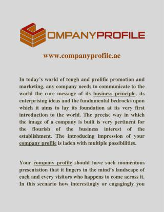 Company Profile Writing Services in Dubai, UAE