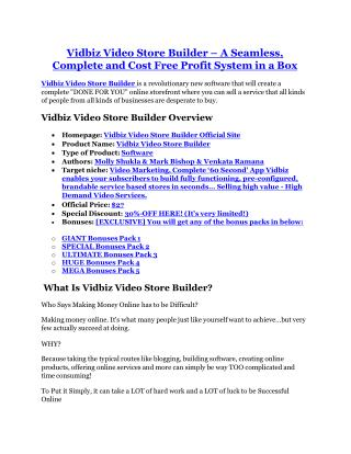 Vidbiz Video Store Builder Review-(Free) bonus and discount