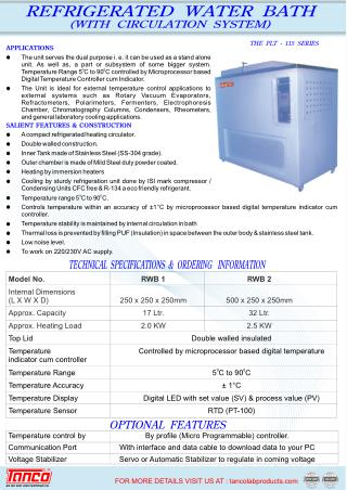 Refrigerated Water Bath | Manufacturer | Tanco India