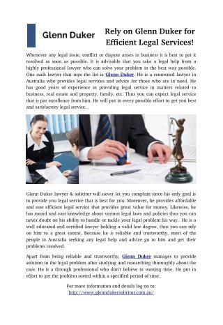 Rely on Glenn Duker for Efficient Legal Services!