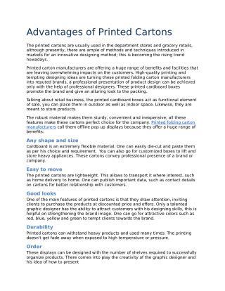 Advantages of Printed Cartons