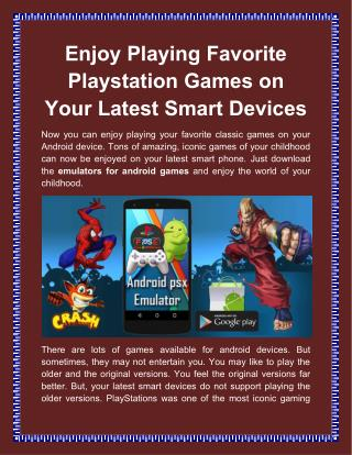 Enjoy Playing Favorite Playstation Games on Your Latest Smart Devices