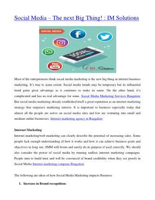 Social Media – The next Big Thing! : IM Solutions