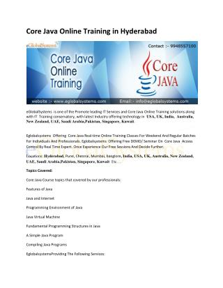 Core Java Online Training in Hyderabad, India , USA - eglobalsystems