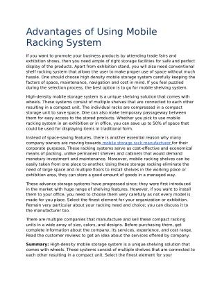 Advantages of Using Mobile Racking System
