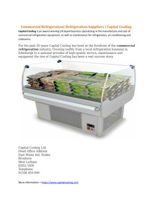 ommercial Refrigeration| Refrigeration Suppliers | Capital Cooling