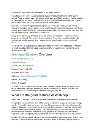 Wishloop Review – Best conversion rate you can ever get!