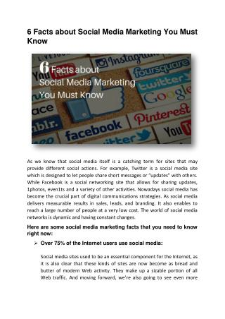 6 Facts about Social Media Marketing You Must Know