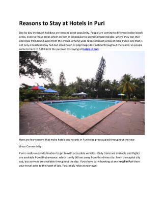 Reasons to Stay at Hotels in Puri