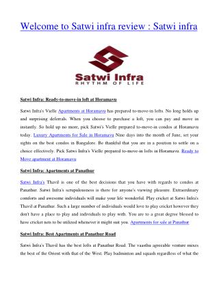 Welcome to Satwi infra review : Satwi infra