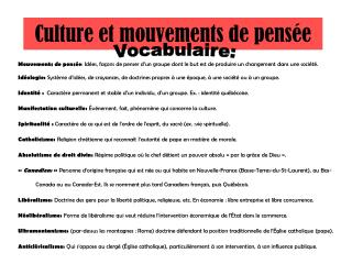 Culture et mouvements de pens e