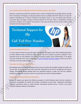 Contact HP Technical Support Number 877-910-4204
