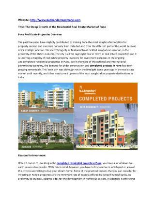Buy 2 & 3 BHK Residential Apartments Baner Pune - BU Bhandari Landmarks