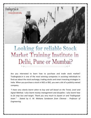 Stock Market Training Institute in Pune