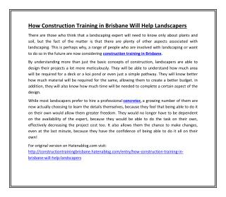 How Construction Training in Brisbane Will Help Landscapers