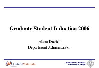 Graduate Student Induction 2006