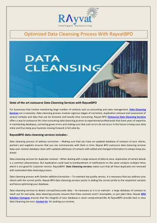 Optimized Data Cleansing Process With RayvatBPO