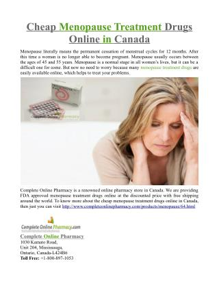 Cheap Menopause Treatment Drugs Online in Canada
