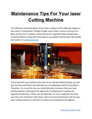 Maintenance Tips For Your Laser Cutting Machine