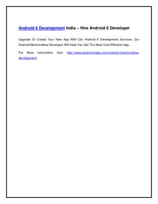 Android 6 Development India – Hire Android 6 Developer