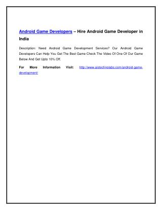 Android Game Developers – Hire Android Game Developer in India