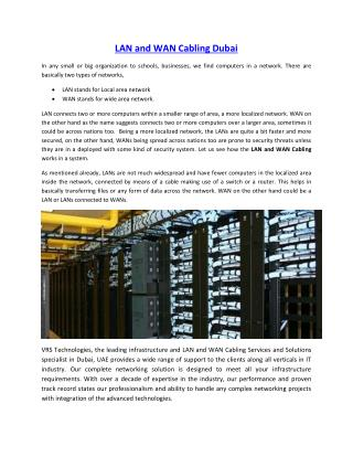 LAN and WAN Cabling Dubai