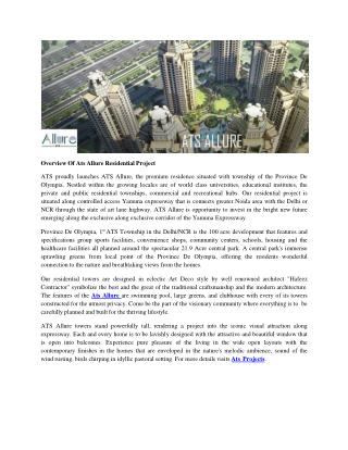 Overview Of Ats Allure Residential Project