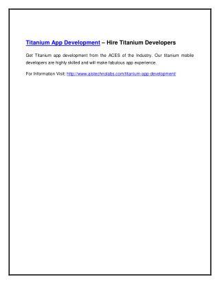 Titanium App Development – Hire Titanium Developers