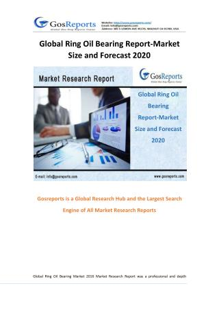 Global Ring Oil Bearing Report-Market Size and Forecast 2020