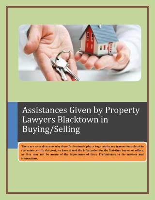 Assistances Given by Property Lawyers Blacktown in Buying/Selling