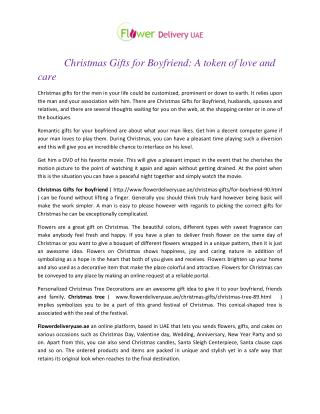 Christmas Gifts for Boyfriend: A token of love and care