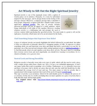 Act Wisely to Sift Out the Right Spiritual Jewelry