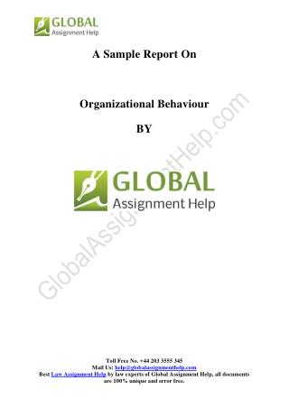 Sample Report on Organizational Behaviour by Global Assignment Help